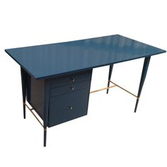Paul McCobb Lacquered desk in deep Turquoise USA 1950's Midcentury Desk designed by Paul McCobb, deep turquoise lacquer desk with brass fittings