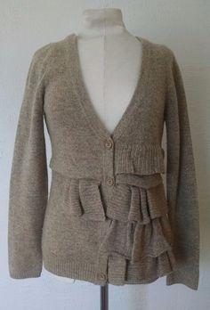 Anthropologie Moth Cardigan Sweater S Oatmeal Tan Wool Ruffle Split Decision #Moth #Cardigan