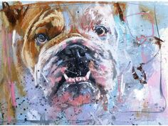 Bulldog - James Bartholomew - watercolour with pastel Sheep Paintings, Animal Paintings, Animal Drawings, Art Drawings, Cãezinhos Bulldog, Bulldogs, Animal Painter, Cow Art, Dog Portraits