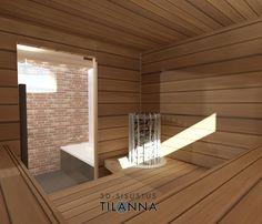 3D-sisustussuunnittelu / sauna, lämpökäsitelty haapa seinässä ja lauteissa/ 3D-sisustus Tilanna, sisustussuunnittelija
