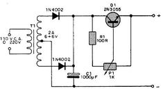 2N3055 Variable DC Power Supply circuit and explanation in