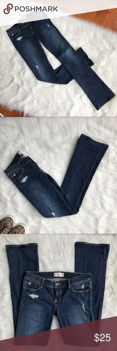 Abercrombie Distressed Jeans A&F distressed jeans. Dark wash. Excellent condition. Size: Abercrombie kids 16. Abercrombie & Fitch Bottoms Jeans