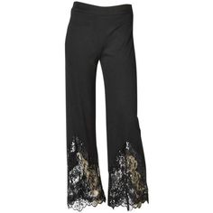 Preowned Valentino Pant With Sequin And Lace Detail ($795) ❤ liked on Polyvore featuring pants, black, flat front pants, wide-leg pants, lace-up pants, sequin trousers and sequin embellished pants