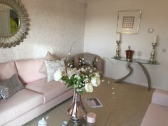 Pink feminine grey soft living room pink sofa glass console table