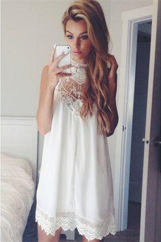 Lace Chiffon Mini Dress//
