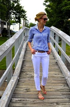 long striped sleeved shirt + white capri pants and sandals!