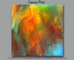 Abstract painting - Square canvas art print. Artist: Denise Cunniff - ArtFromDenise.com. View more info at https://www.etsy.com/listing/246953604