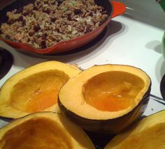 This is THE BEST stuffed acorn squash recipe I've ever eaten. CRANBERRIES AND PECANS in the stuffing. Hells yeah. A culinary delight.