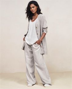Silk linen wide-leg trousers