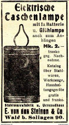 Original-Werbung/ Anzeige 1925 - ELEKTRISCHE TASCHENLAMPE / VON DEN STEINEN - WALD BEI SOLINGEN - Ca. 40 X 75 Mm - Werbung