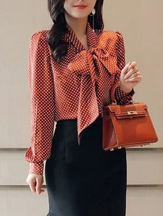 Stylewe Long Sleeve Red Green Black Women Blouses For Work Polyester Tie-Neck Date Bow Blouses Bow Blouse, Blouse And Skirt, Blouse Styles, Blouse Designs, Bluse Outfit, Look Office, Classy Work Outfits, Blouses For Women, Womens Fashion