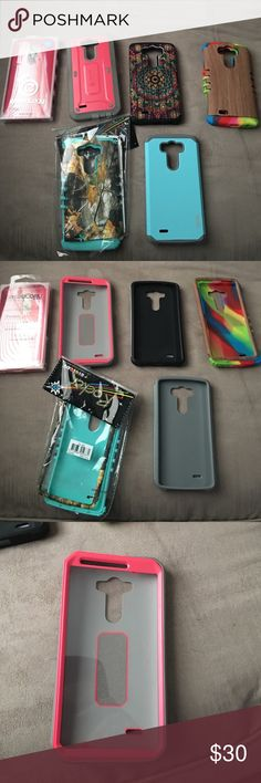 SOLDLg g3 cases 6 lg g3 cases in good condition. The last case pictured has a built in screen protector. Selling as a set not seperately. Reasonable offers accepted. Accessories Phone Cases