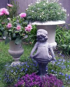 Marvelous Garden Statue And Urns ( I Have This Sweet Little Girl Statue . I Call Her  Louise) C: