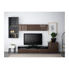 Ikea Living Room Sets Besta Series TV Storage Combination Of Glass Doors, Hanviken, Selsviken High Gloss Or Gray Clear Glass : Besta Series From Ikea Living Room Sets For Your Neat And Stylish TV Media And Storage Solutions - chrySSa Home-Decor Ikea Living Room, Living Room Grey, Living Room Furniture, Home Furniture, Media Furniture, Small Furniture, Furniture Storage, Small Living, Home And Living