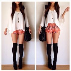 White top, aztec print shorts outfit