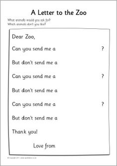Dear Zoo writing frames (SB4175) - SparkleBox