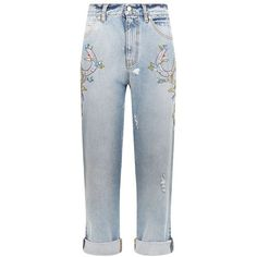Alexander McQueen Embellished Boyfriend Jeans (97.750 RUB) ❤ liked on Polyvore featuring jeans, embellished boyfriend jeans, boyfriend fit jeans, boyfriend jeans, sequin jeans and blue jeans