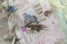 Mixed Media Art Journal Shabby Lace Collage Vintage Bird Journal with Mixed Media Art Tags and Lace Collage