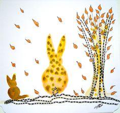 Très jolie carte postale faite mains et son enveloppe décorée de couleur assortie : Chat et Lapin automne N°1 : Cartes par matt-et-les-petits-cadeaux