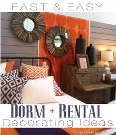 College Dorm or Rental Decorating Ideas - There's no picture of this but I want to remember: Shower rod tension rods are much wider in diameter and when two are placed about a foot parallel to each other a pine or mdf board can be placed on them to create a knock down portable shelf for a closet.