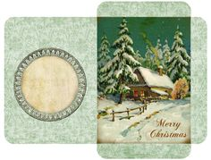 "Vintage Christmas gift card envelopes ~ Winter cottage with ""Merry Christmas"" bottom right. Christmas Envelopes, Christmas Tag, Vintage Christmas, Christmas Crafts, Christmas Tables, Nordic Christmas, Modern Christmas, Christmas Stockings, Scrapbooking"