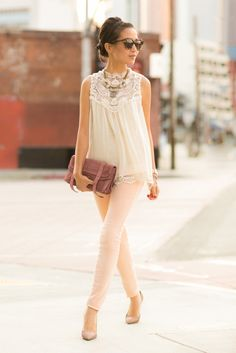 White vintage lace top, nude jeans and heels.