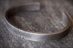 Men's distresed solid sterling silver cuff bracelet by AryalAmesJewelry on Etsy