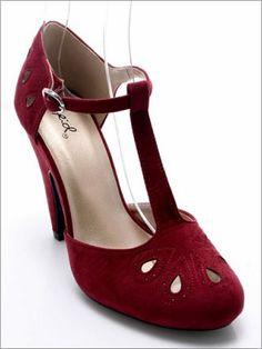Stella Suede T-straps in Burgundy [Stella] - $29.99 : Mikarose Fashion, Reinventing Modest Fashion