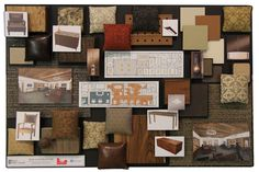 Material boards help clients understand the aesthetics of their space. This is one of Oglesby's signature material and finish boards.