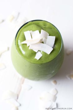 This Coconut Mango Green Smoothie is the perfect balance of creamy coconut and tropical mango.