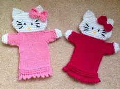 Musings of Puppet Lady: Hello Kitty Puppet Pattern Hand Knitting Yarn, Knitting Patterns Free, Free Knitting, Baby Knitting, Crochet Patterns, Knitting Basics, Knitting Toys, Glove Puppets, Hand Puppets