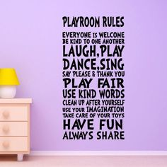Playroom Rules Wall Decal Decor Art Sign   for Childs, Child or Childrens Nursery boy or girls room Decor Quote Vinyl   Sticker Mural via Etsy