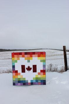 Rainbow Canadian Flag Heart Lap Quilt