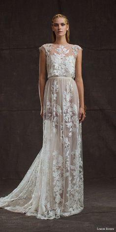 limor rosen bridal 2016 treasure aurora lace applique wedding dress / http://www.deerpearlflowers.com/wedding-dresses-with-cap-sleeves/2/