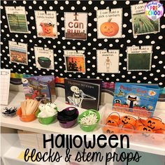 Halloween theme & STEM challenge in the blocks center! Blocks & STEM prop idea list for the WHOLE year, every season, holiday, and theme! Block Center Preschool, Preschool Centers, Fall Preschool, Preschool Ideas, Preschool Halloween, Halloween Activities, Preschool Crafts, Halloween Blocks, Halloween Themes