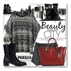 """Beauty takes the city"" by pokadoll ❤ liked on Polyvore featuring Bobbi Brown Cosmetics, Marc by Marc Jacobs, H&M, Coach, persunmall and persun"