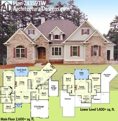 Architectural Designs House Plan 24359TW gives you 3 beds and over 2,600 sq. ft. of living on one floor. And two more beds if you build out the optional finished lower level. Ready when you are. Where do YOU want to build?