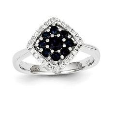 14K WG Dia & Sapp Ring Y11304S/AA