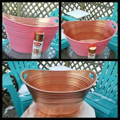 DIY Bin Makeover $1 Dollar Tree Bin $4 Copper Metallic Spray Paint from Michaels = $5 Copper Tub for parties
