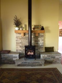Propane fireplace. We had this hearth built to give more presence to the fireplace. The whole room is very inviting now.
