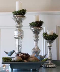Mercury Glass Candle Sticks with birds nests