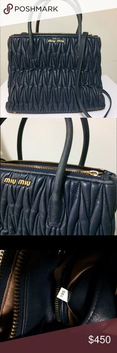 Miu Miu Nappa Blue Tote Beautiful nappa tote miu miu bag inspired by Prada. Only flaw is the peeling that needs to be colorized, other than that the bag is perfect. Leather is really soft and the inside is clean.    No dust bag. Price is firm Miu Miu Bags Crossbody Bags