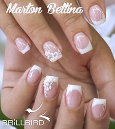 Simple Florals - Decorating Your French Manicure 10 Simple Fourth Of July Nails To Keep You Minimalist Pretty Nails, Cute Nails, Pink Ombre Nails, Bridal Nail Art, Pearl Nails, Bride Nails, Wedding Nails Design, Flower Nails, Perfect Nails