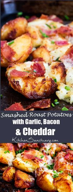 Perfectly Crunchy Roast Potatoes with Garlic, Bacon and Cheddar! Perfectly Crunchy Roast Potatoes with Garlic, Bacon and Cheddar! Potato Dishes, Potato Recipes, Bacon Recipes, Good Food, Yummy Food, Cooking Recipes, Healthy Recipes, Healthy Savoury Snacks, Healthy Meals