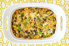 This Vegetarian Rice & Bean Casserole is an easy and healthy solution for getting dinner on the table. It can be made ahead and frozen so it