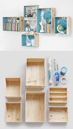 Prateleiras feitas de caixotes de madeira. O que acha?  Veja mais em http://www.comofazer.org