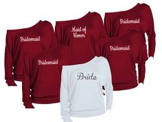 Items similar to 6 Personalized Bridesmaids Shirts. Maid of Honor Shirts. Bachelorette Party Off The Shoulder Shirts. on Etsy Bridal Party Shirts, Bachelorette Party Shirts, Gifts For Wedding Party, Wedding Ideas, Fall Wedding, Dream Wedding, Wedding Stuff, Bachelorette Ideas, Bachelorette Weekend