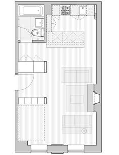 Great studio floor plan. Requires the right beginning layout obviously, but if you can work it, creating an entryway with storage units that hide away the bed and bathroom is really slick.