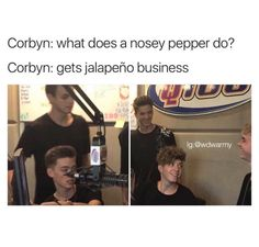 """Zach and Jonah: *sarcasm* hilarious Daniel and Jack: """"That was actually pretty funny"""" Corbyn: """"I'm so PUNNY"""" Why Dont We Imagines, Why Dont We Band, Jack Avery, Corbyn Besson, To My Future Husband, Funny Moments, My Sunshine, Cool Bands, Puns"""