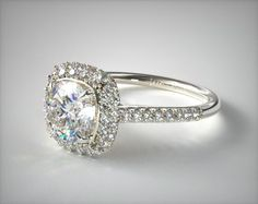 53073 engagement rings, halo, 14k white gold cushion outline falling edge engagement ring item - Mobile